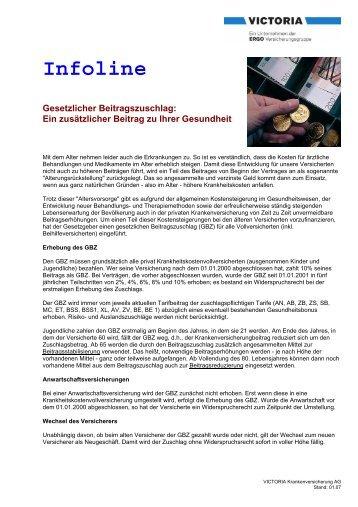Infoline Gesetzlicher Beitragszuschlag - Victoria Versicherung  AG