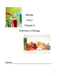 Biology Unit 2 Chapter 6 Chemistry in Biology Name: