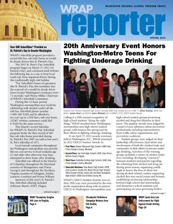 Calendar of Events - Washington Regional Alcohol Program