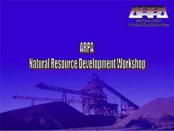 Natural Resource Development - Arizona Rock Products Association