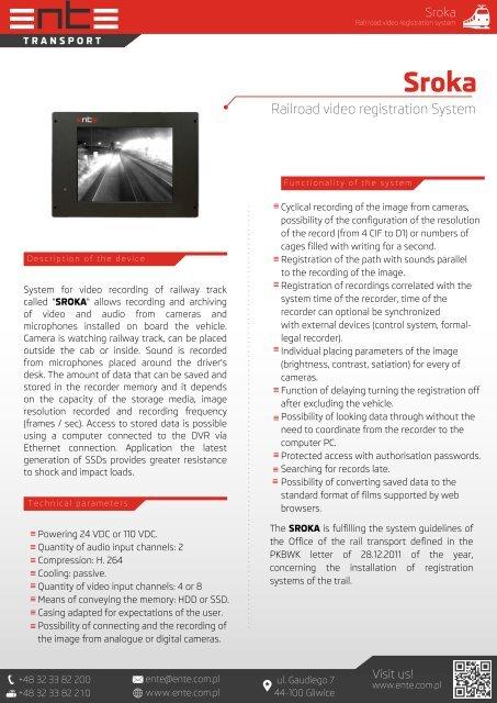 SROKA System rejestracji obrazu szlaku kolejowego - ENTE
