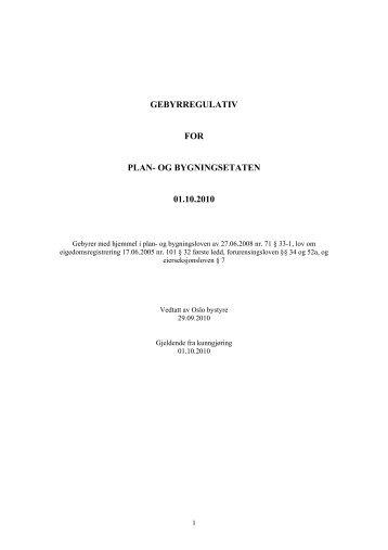 Gebyrregulativ gjeldende fra 1. oktober 2010 - Plan
