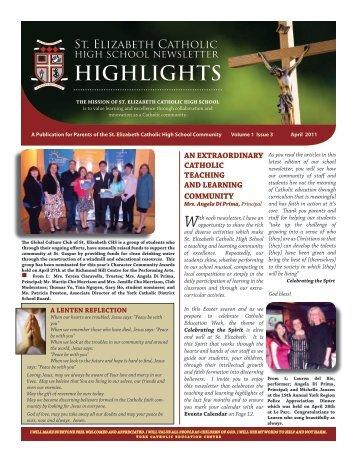 April Newsletter 2011 - St. Elizabeth Catholic High School - the York ...