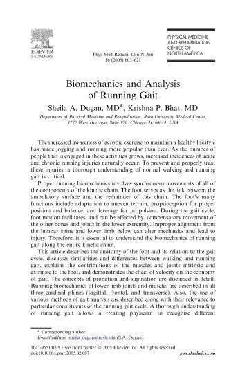 Biomechanics and Analysis of Running Gait - De Motu
