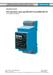 PTC thermistor relay type MS 220 VA and MSR 220 VA