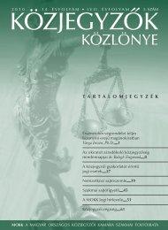 Közjegyzők közlönye 2010. 5. szám - Magyar Országos Közjegyzői ...