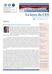 La Lettre du CES n°16 - Centre d'Économie de la Sorbonne ...