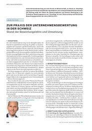 Zur Praxis der Unternehmensbewertung in der Schweiz