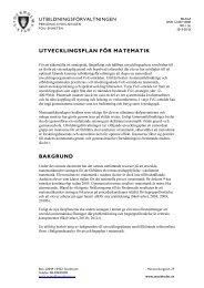 UTVECKLINGSPLAN FÖR MATEMATIK - Pedagog Stockholm