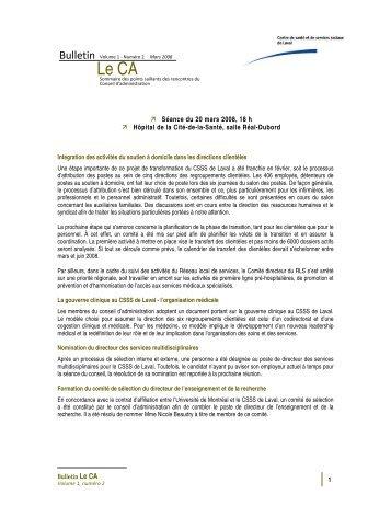 Volume 1 Numéro 2 - Centre de santé et de services sociaux de Laval