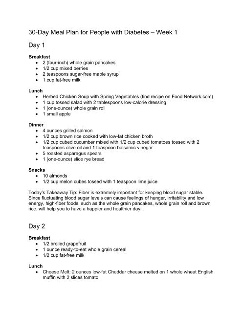 30 Day Meal Plan For People With Diabetes A Week 1 Food