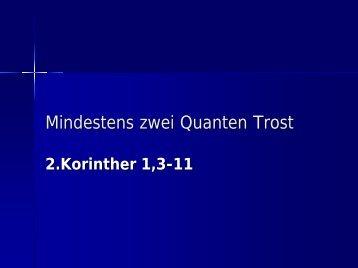 Mindestens zwei Quanten Trost - EFG Hemsbach