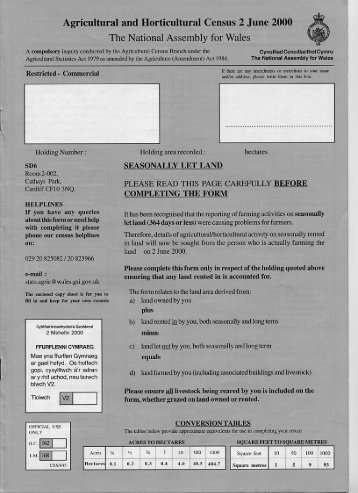 Agricultural and Horticultural Census 2 June 2000 The ... - Edina