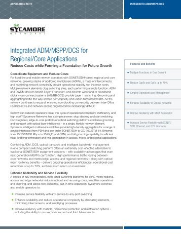 Integrated ADM/MSPP/DCS for Regional/Core Applications