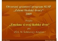 "Otvorený grantový program SLSP ""Zelené školské dvory"" 2009 ..."