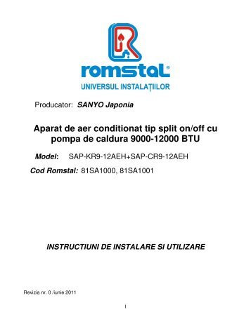 Aparat De Aer Conditionat Tip Split Cu Inverter Cu Pompa