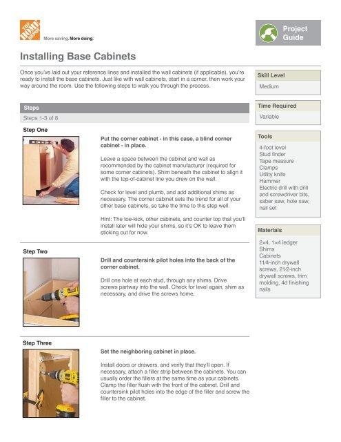 Installing Base Cabinets Indd Home Depot