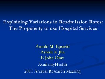 Understanding Variations in Readmissions - AcademyHealth