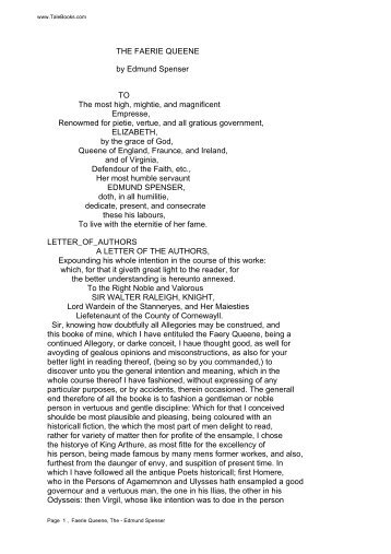 THE FAERIE QUEENE by Edmund Spenser TO The ... - Planet.ee