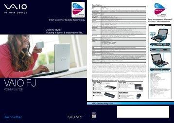 VGN-FJ57GP - Sony Style