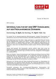 UNTERHALTUNG PUR MIT DEM ORF VORARLBERG AUF DER ...