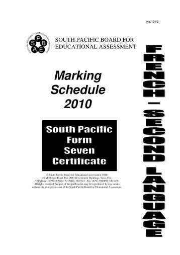 Marking Schedule 2010