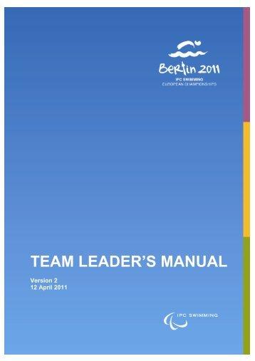 TEAM LEADER'S MANUAL - the 2011 IPC Swimming European ...
