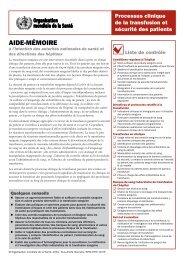 Processus clinique de la transfusion et sécurité des patients