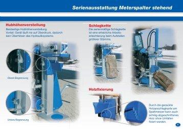 Serienausstattung Meterspalter stehend Serienausstattung ...