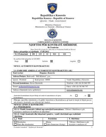 njoftim për kontratë shërbime - Dogana e Kosovës - Fillimi
