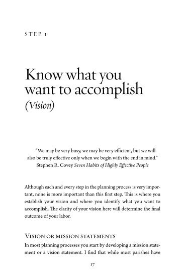 Know what you want to accomplish - Pastoral Planning