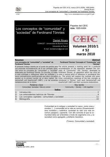 """Los conceptos de """"comunidad"""" y """"sociedad"""" - Centro de Estudios ..."""
