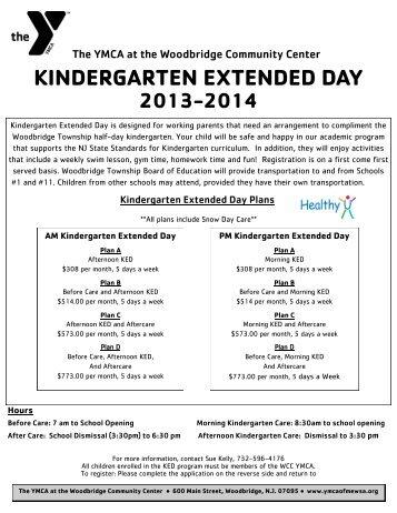 KINDERGARTEN EXTENDED DAY - Ymcaofmewsa.org