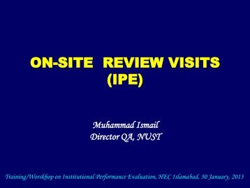 ON-SITE REVIEW VISITS (IPE)