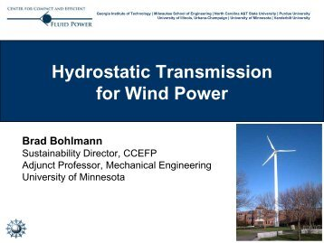 Hydrostatic Transmission for Wind Power - Institute on the ...