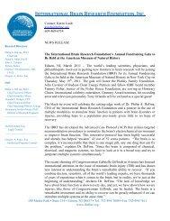 Press Release - International Brain Research Foundation, Inc.