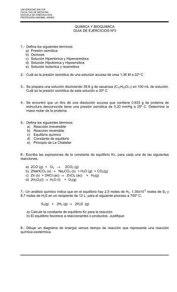 QUIMICA Y BIOQUIMICA GUIA DE EJERCICIOS Nº3 1.- Defina los ...