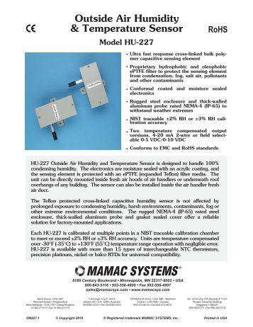 Outside Air Temperature Oat Sensors Series 0129