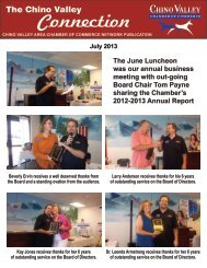 July 2013 Newsletter - Chino Valley Area Chamber of Commerce