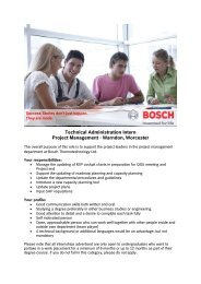 Technical Administration Intern Project Management ... - Bosch-Career