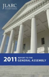2011 Report to the General Assembly - Virginia Joint Legislative ...