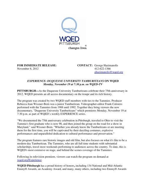 FOR IMMEDIATE RELEASE: CONTACT: George ... - WQED