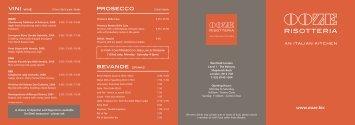 Food Menu - Ooze