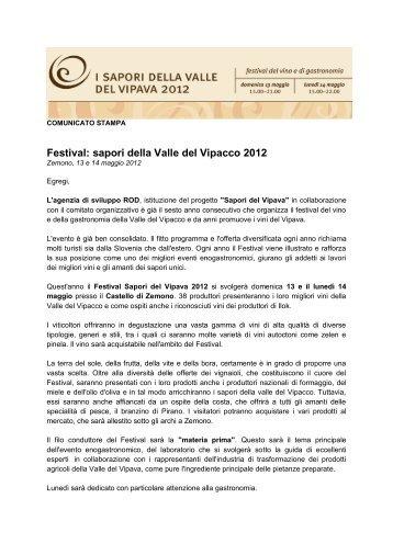 Festival: sapori della Valle del Vipacco 2012 - Okusi vipavske