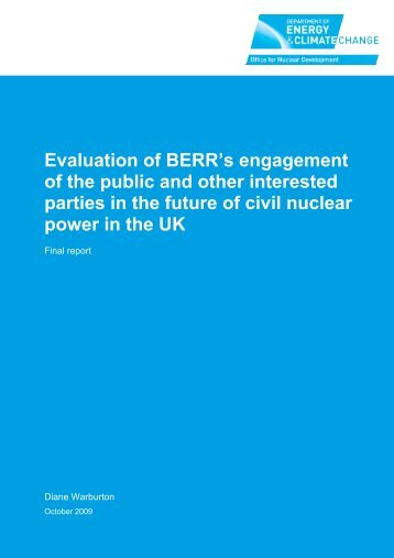 Evaluation of BERR's engagement of the public ... - Shared Practice