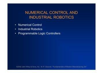 NUMERICAL CONTROL AND INDUSTRIAL ROBOTICS