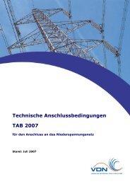 Technische Anschlussbedingungen TAB 2007