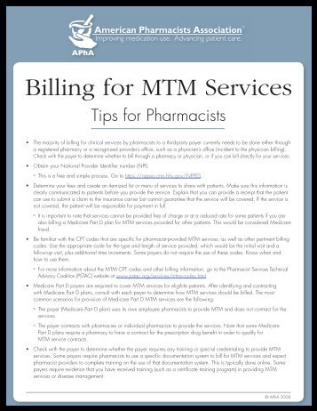 Billing for MTM Services - American Pharmacists Association
