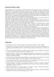 Curriculum of Marco Capra - Centro Internazionale di Ricerca sui ...