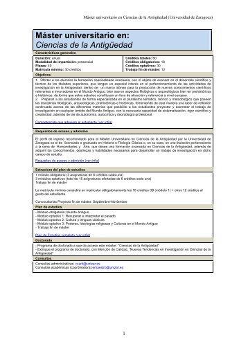 Máster universitario en: Ciencias de la Antigüedad - Grupo de ...